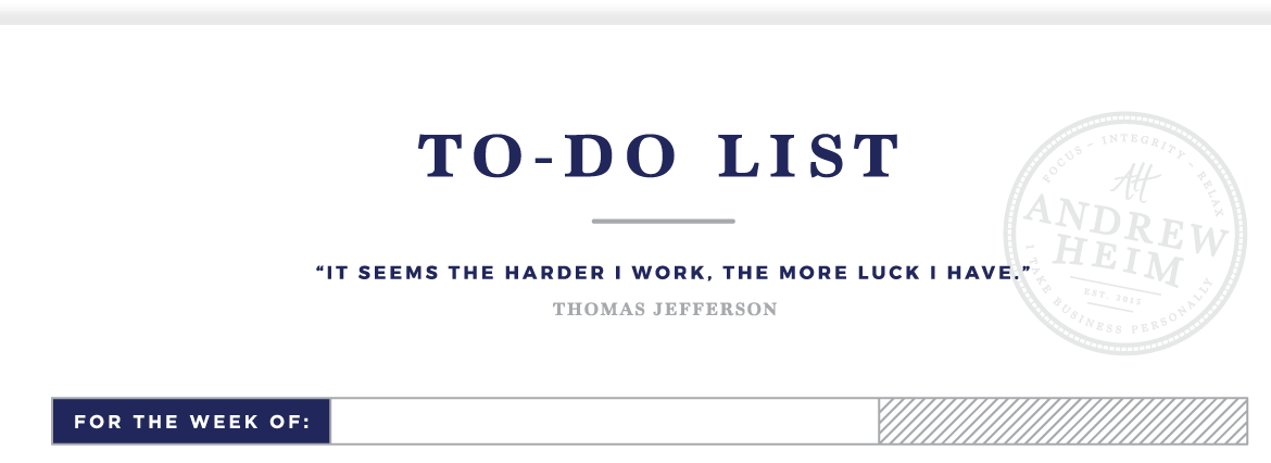 planning your week - to-do list